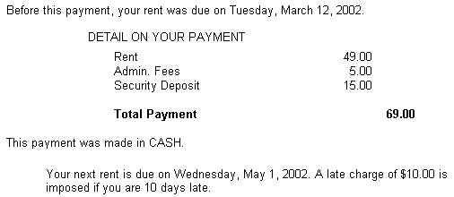 NSF Receipt Shows Less Than Tenant Was Charged QuikStor Support – Tenant Receipt