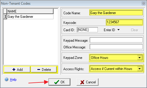 Fill in information for storage access