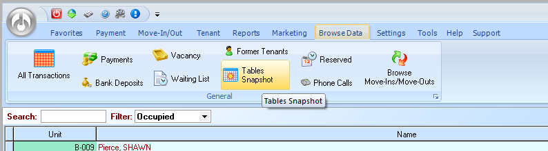 browse data tables snapshot storage software
